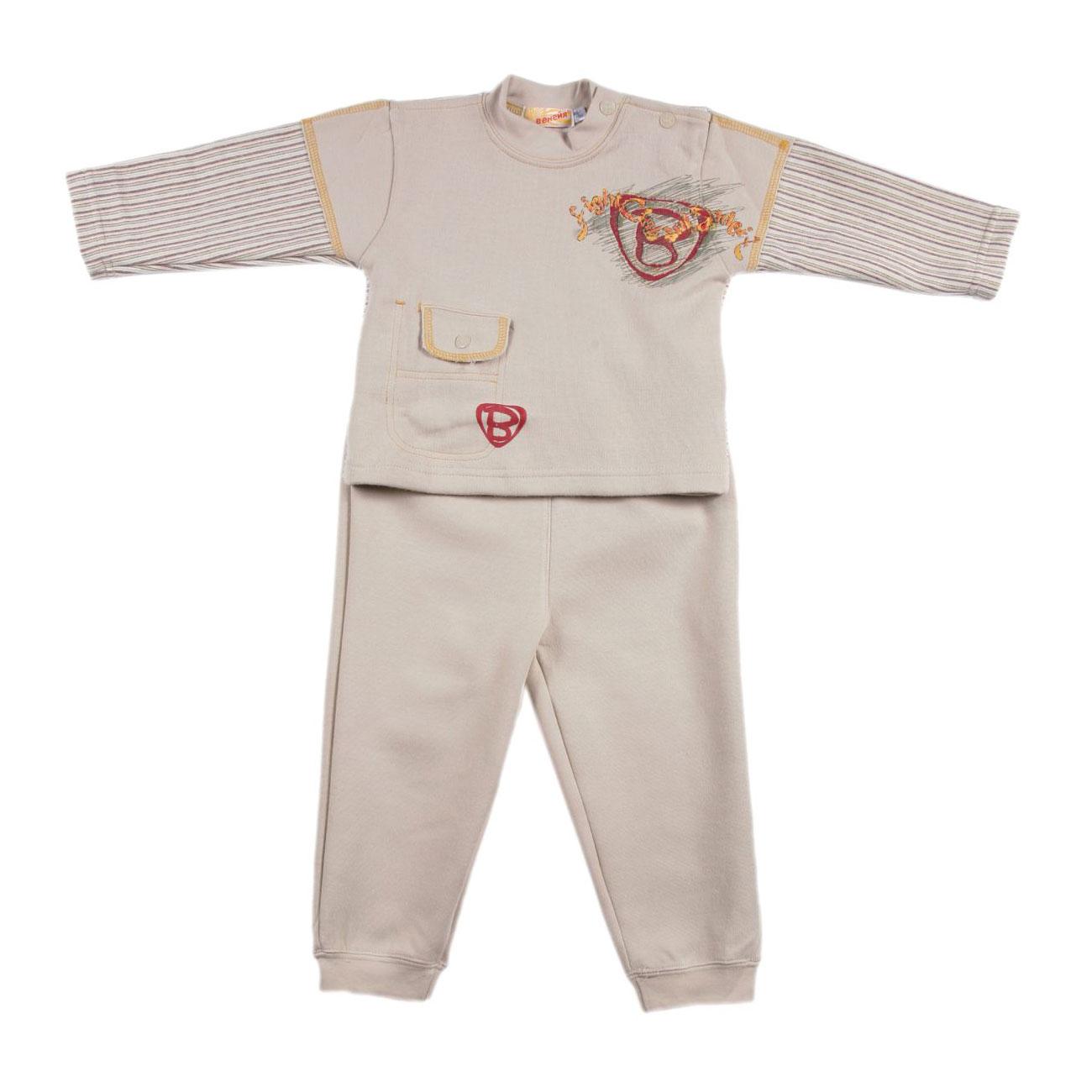 Комплект Veneya Венейя (джемпер + брюки) с кнопками на воротнике для мальчика,бежевый размер 80