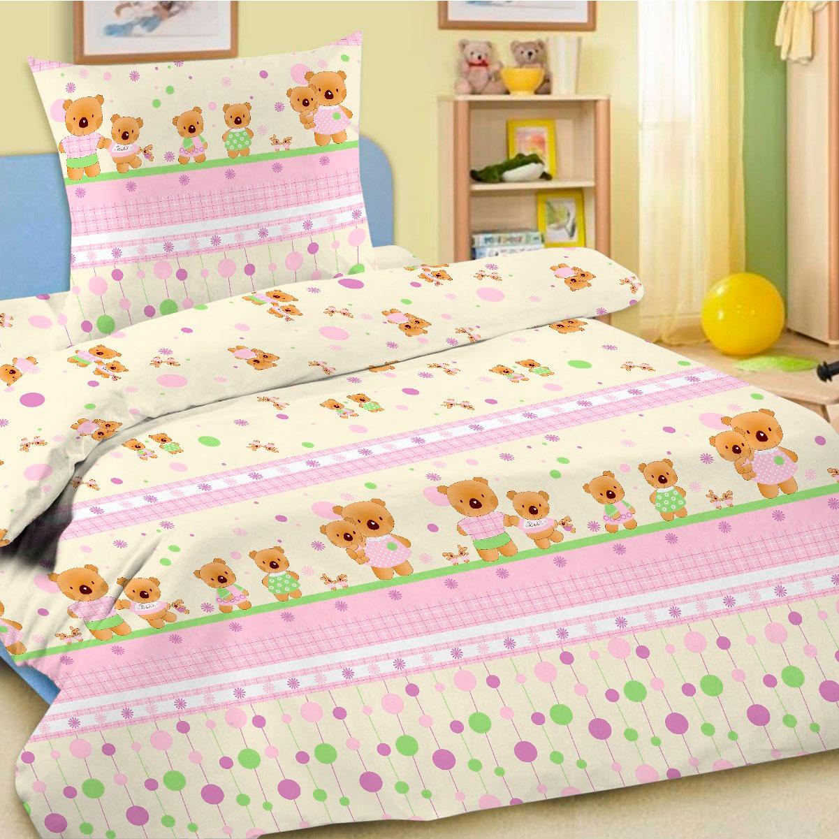 Комплект постельного белья детский Letto в кроватку с простыней на резинке BGR-14<br>