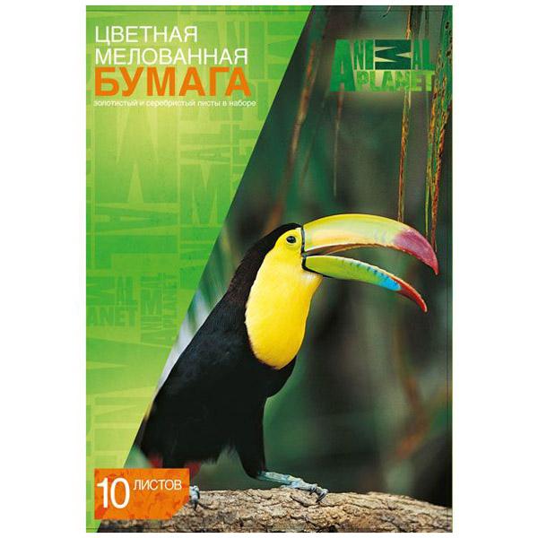 Набор цветной бумаги ACTION! ANIMAL PLANET Мелованная А4 10 листов 10 цветов 2 дизайна<br>
