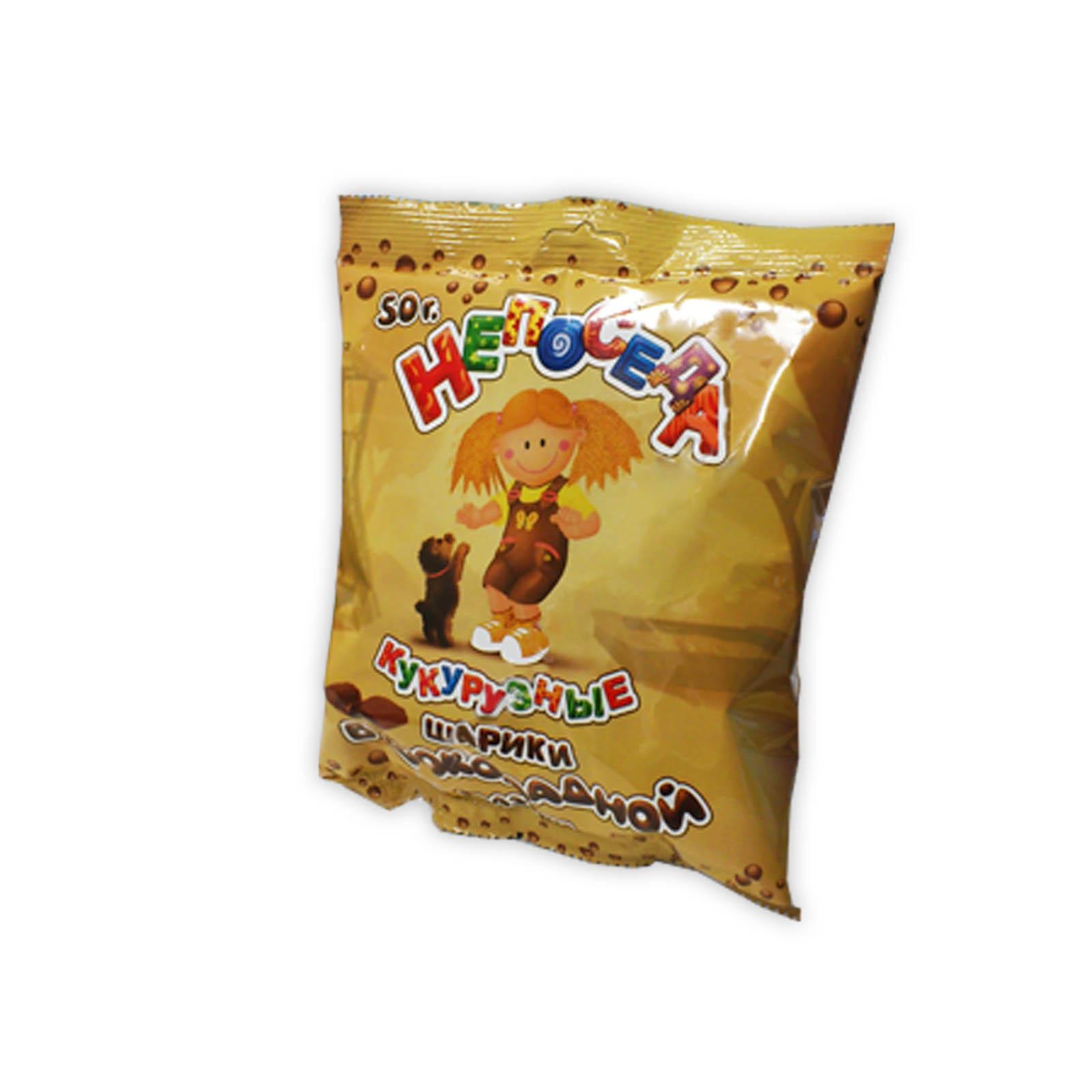 Шарики Здоровей Непоседа 50 гр Кукурузные с шоколадной глазурью<br>