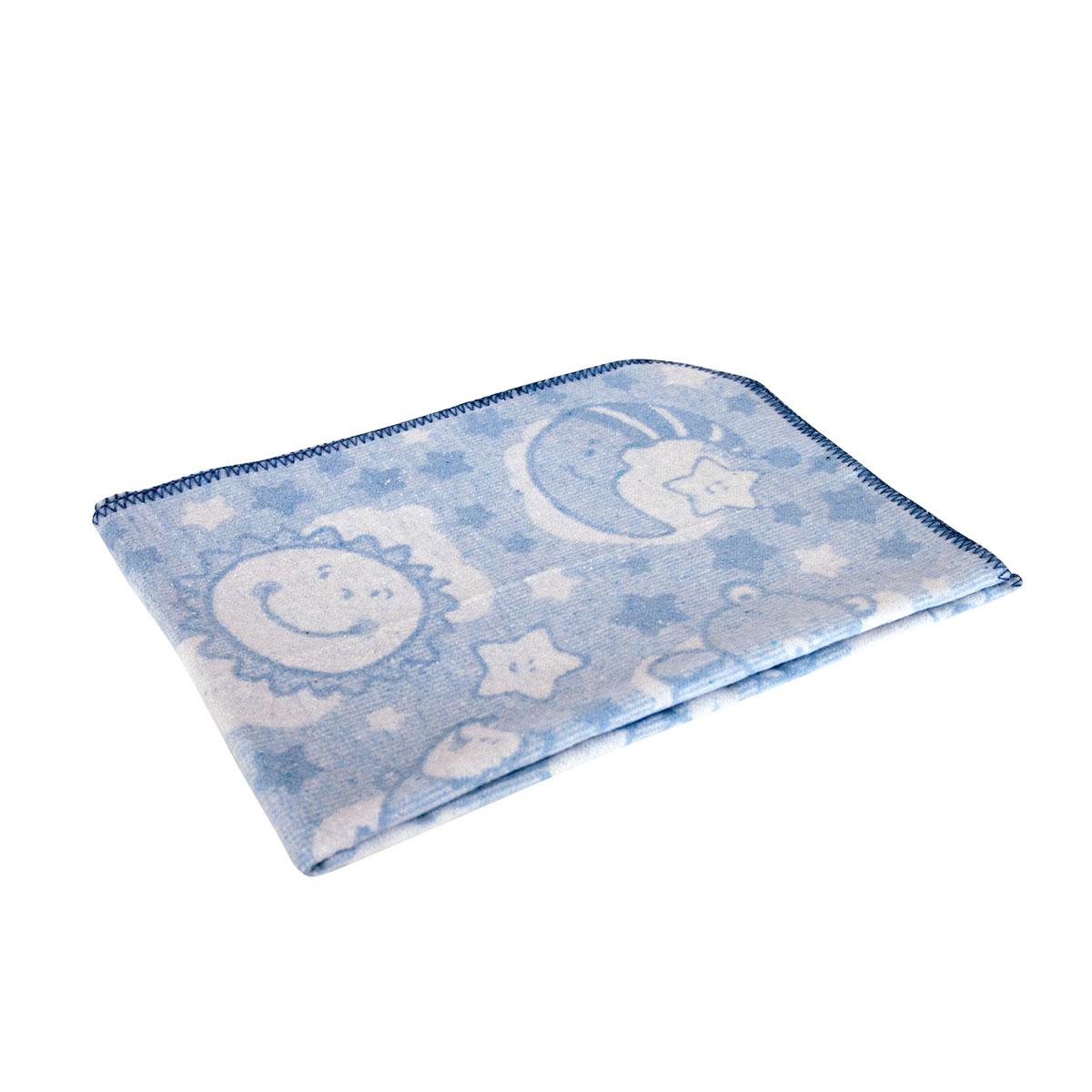 Одеяло Споки Ноки байковое 100% хлопок жаккард 85х115 Звездная ночь (голубой, розовый, бежевый)<br>