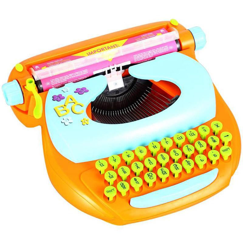 Детская механическая печатная машинка Mehano Русский текст Оранжевая<br>