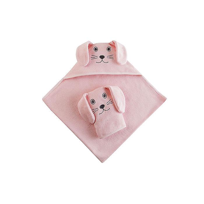 Набор Наша Мама Зайка (полотенце-уголок и рукавичка) розовая махра (Наша мама)