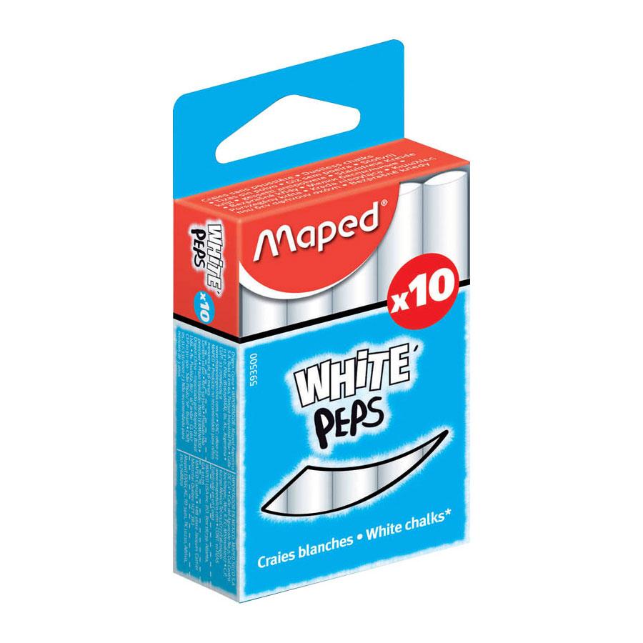 """Мел MAPED WHITE PEPS круглый специальная формула """"без грязи"""" Белый 10 штук"""