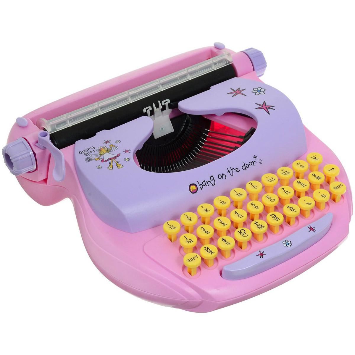 Детская механическая печатная машинка Mehano Русский текст Розовая<br>