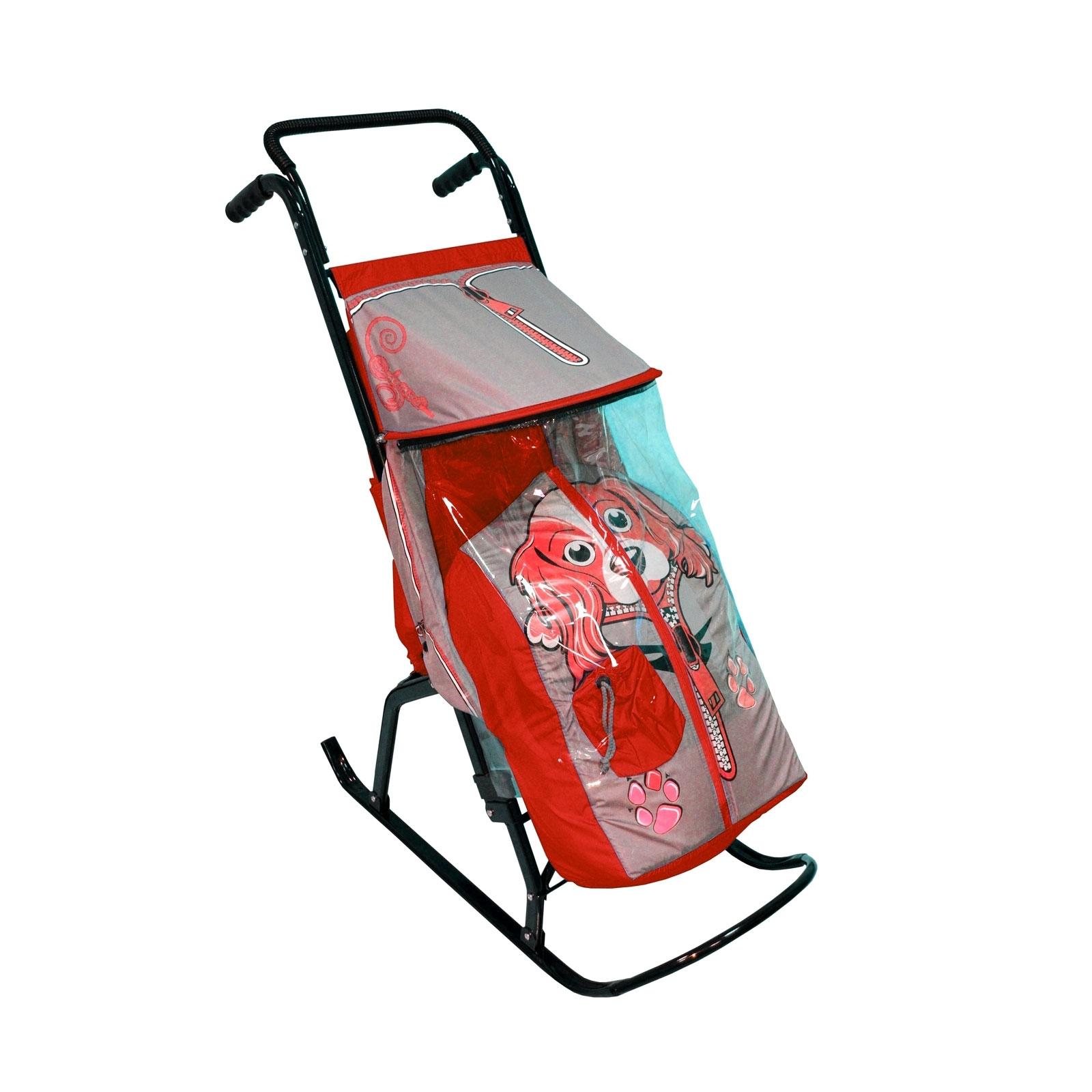 Санки-коляска Снегурочка 2-Р Собачка Серые с красным<br>