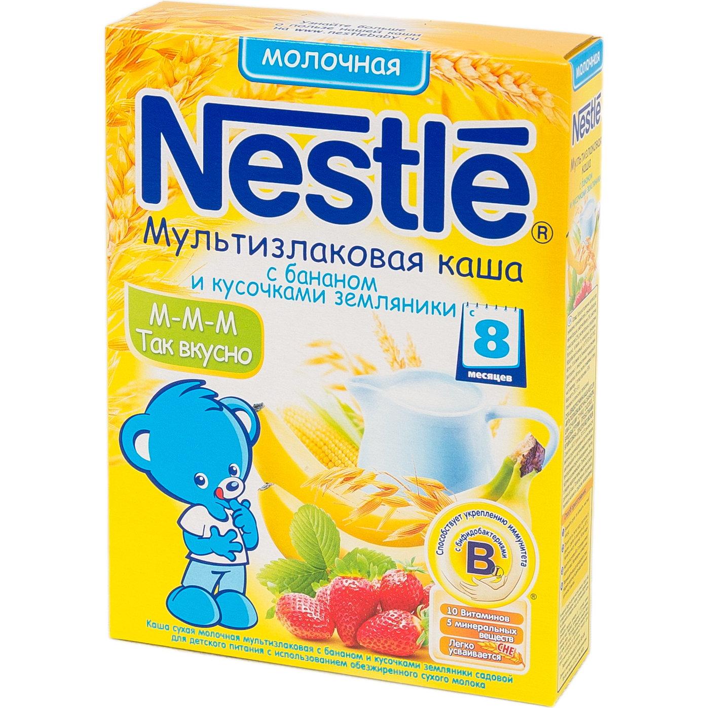 Каша Nestle молочная 250 гр Мультизлаковая с бананом и кусочками земляники (с 6 мес)<br>