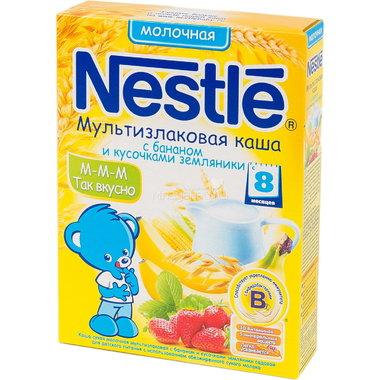 Каша Nestle молочная 250 гр Мультизлаковая с бананом и кусочками земляники (с 6 мес)