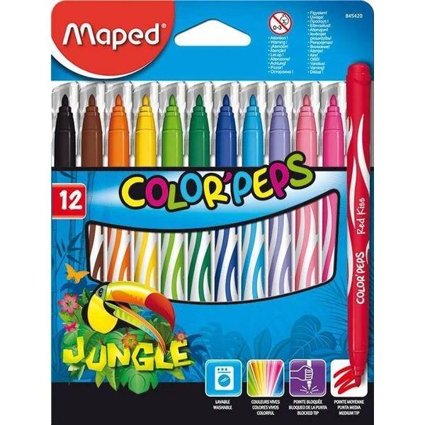Фломастеры MAPED JUNGLE с заблокированным пишущим узлом Смываемые 12 цветов<br>