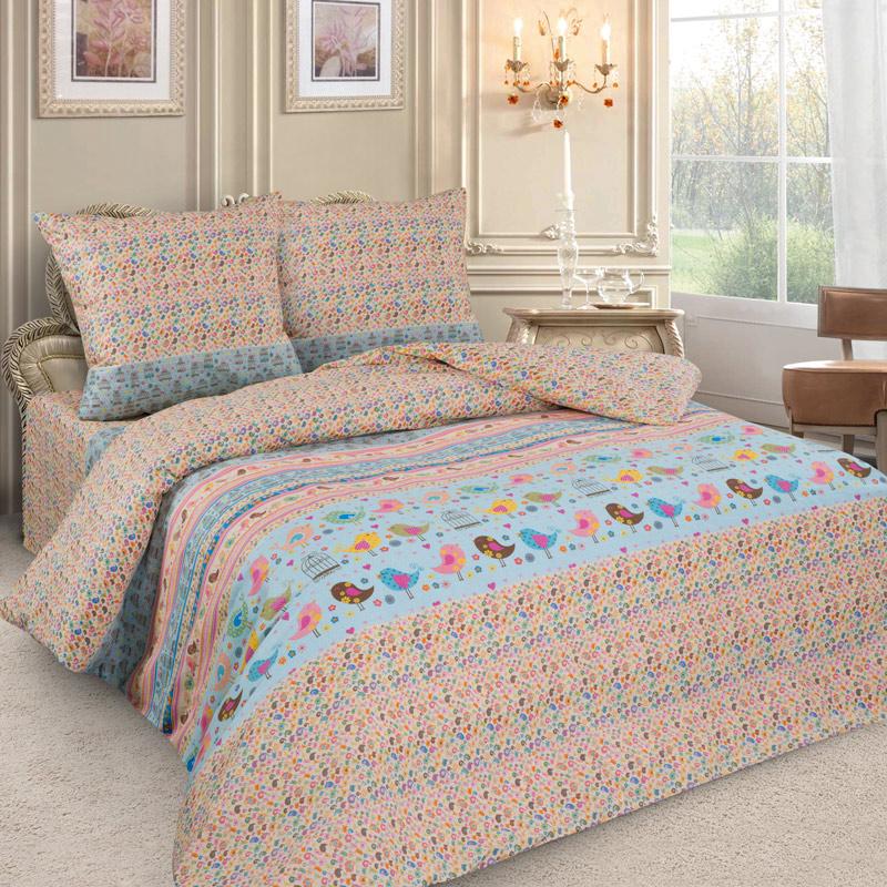 Комплект постельного белья детский Letto с наволочкой 50х70 Птички