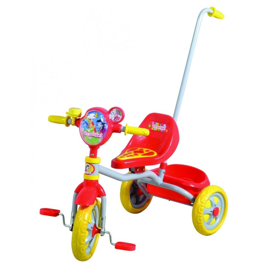 Велосипед 1toy трехколесный с ручкой Ну погоди! Красный с желтым<br>