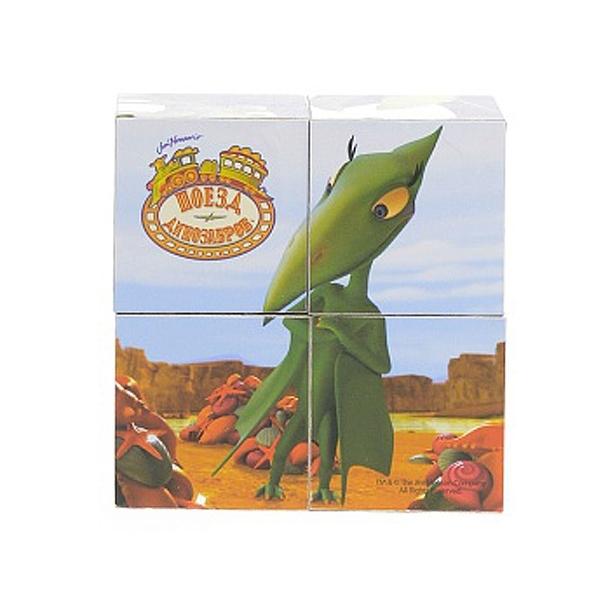 Деревянные кубики Играем вместе Поезд Динозавров (4 кубика)<br>