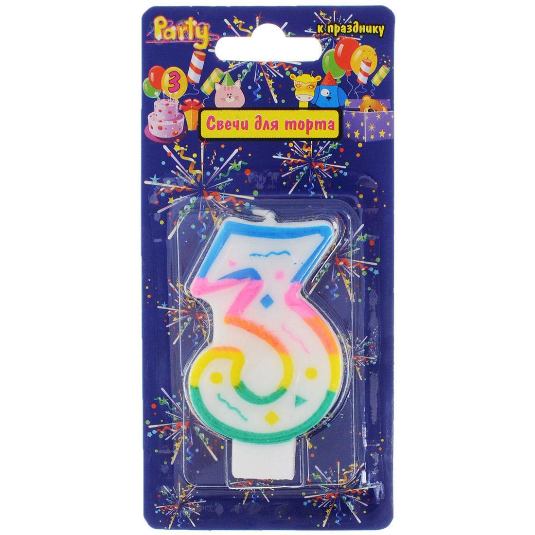 Свеча-Цифра ACTION!  для торта 3 разноцветная 7см<br>