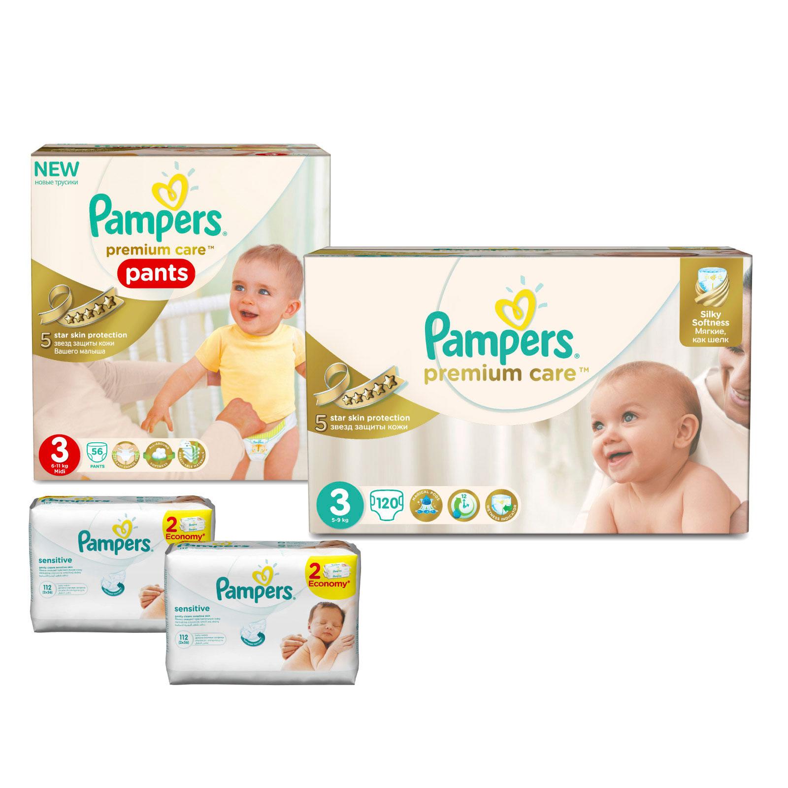 Набор Pampers № 7 Подгузники и трусики Premium Care (3 размер)<br>