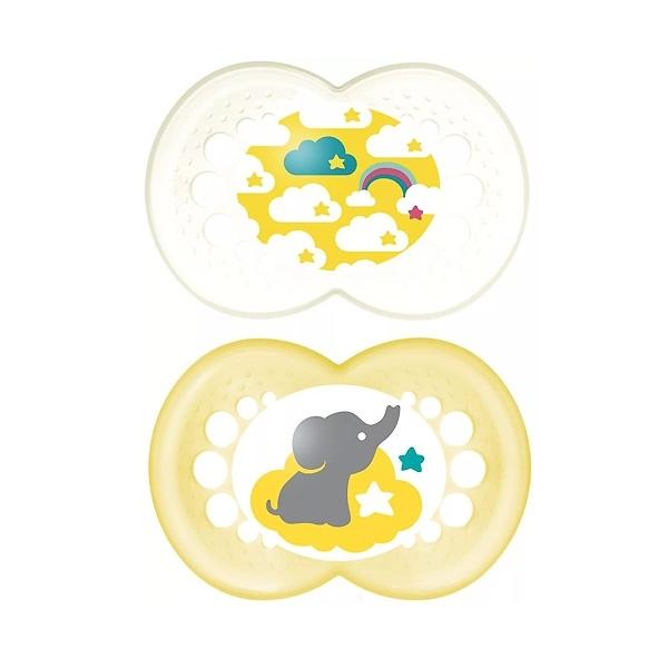 Пустышка MAM Original Латексная 2 шт (6-16 мес) белая и желтая (слоненок, облака)<br>