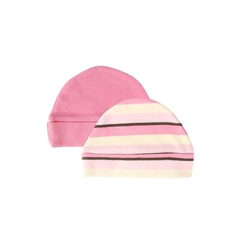 """Комплект Hudson Baby Шапочки """"В полоску"""", 2 шт., (органик), цвет розовый-полоска 0-6 мес. (55-67 см)"""