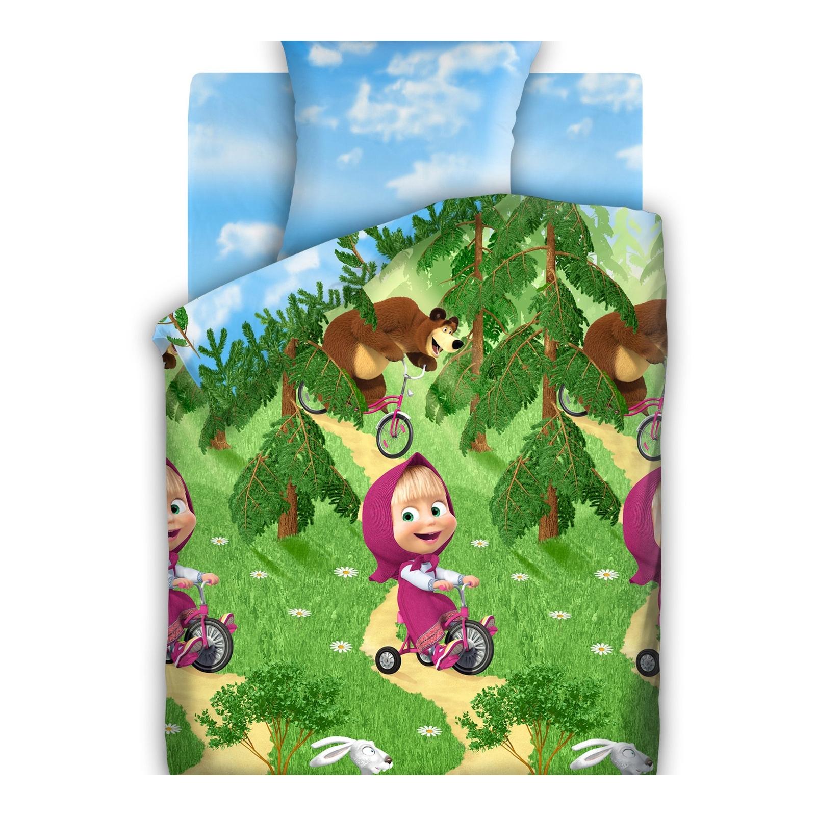 Комплект постельного белья детский бязь Непоседа Маша и Медведь Велогонка