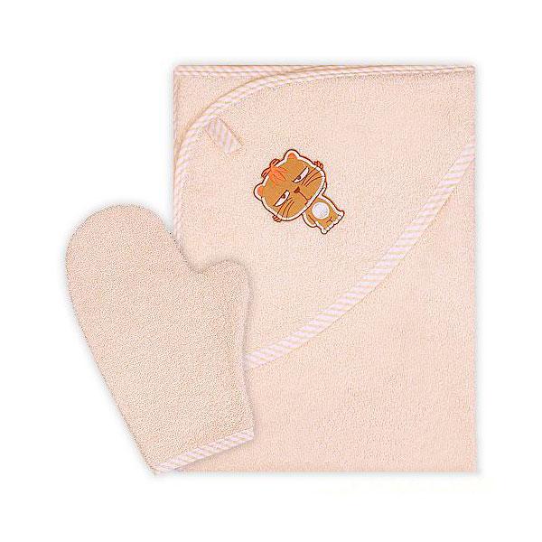 Полотенце-уголок Осьминожка с рукавичкой махровое Бежевое<br>