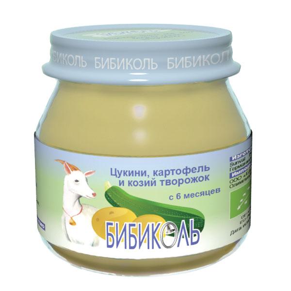 Пюре Бибиколь органическое овоще-молочное 80 гр Цукини картофель и козий творожок<br>