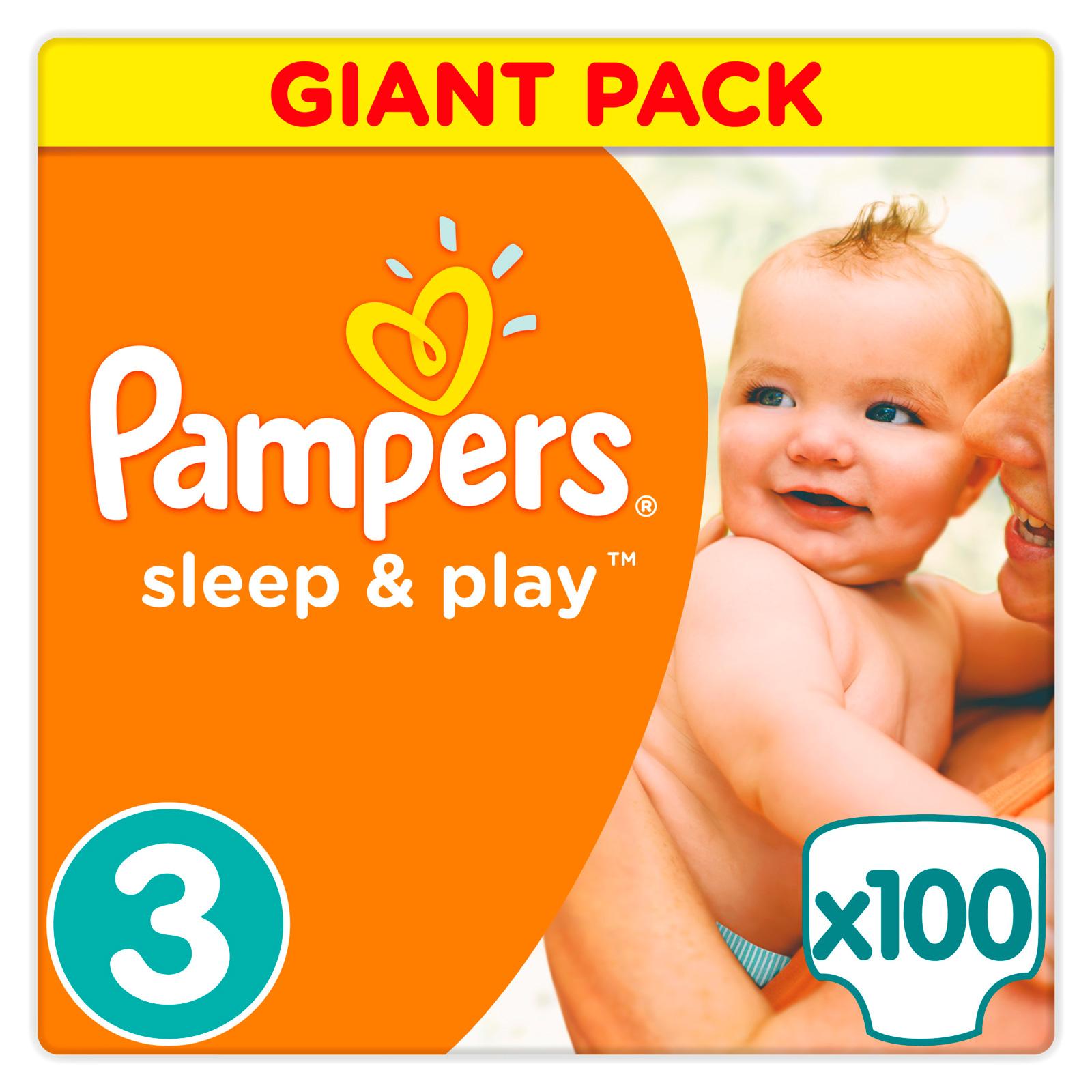 Подгузники Pampers Sleep&amp;amp;Play Midi 5-9 кг (100 шт) Размер 3<br>