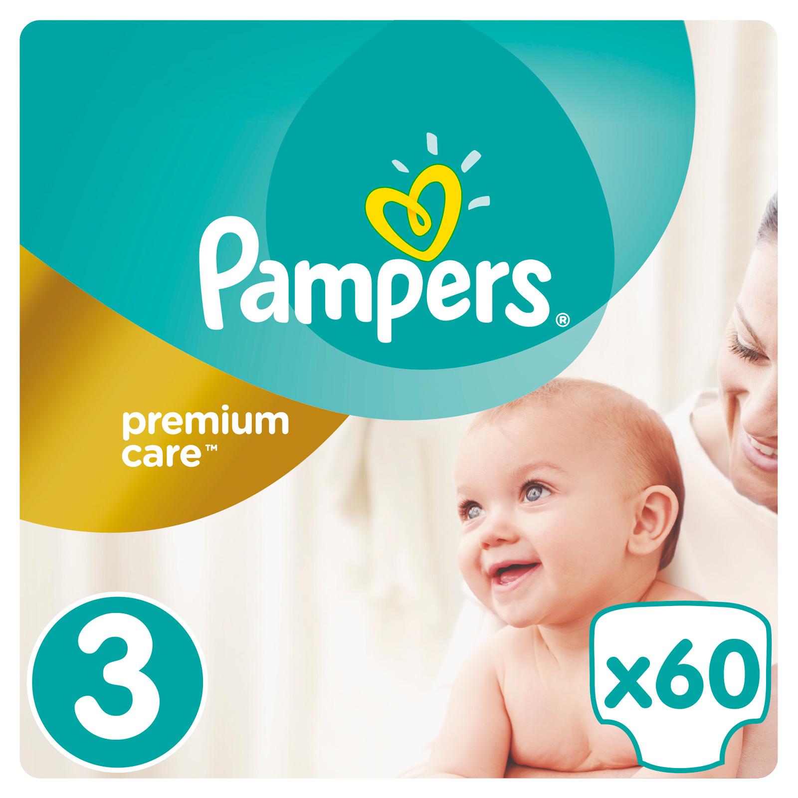 Подгузники Pampers Premium Care Midi 5-9 кг (60 шт) Размер 3<br>