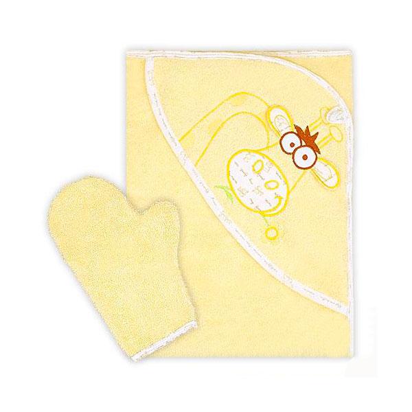 Полотенце-уголок Осьминожка Жираф с вышивкой махровое Желтое<br>