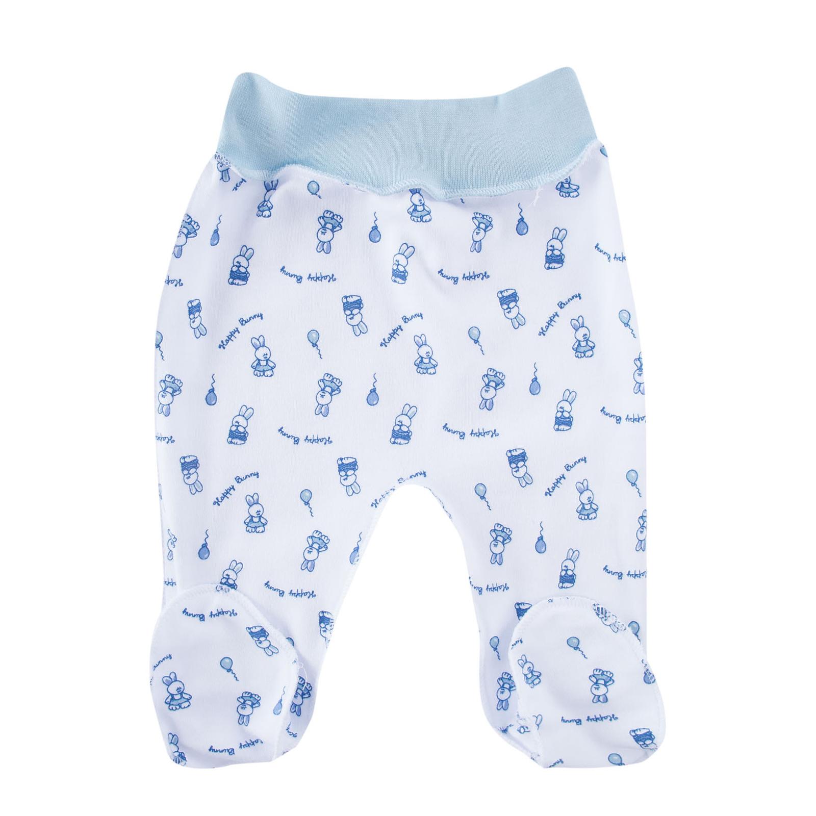 Ползунки на поясе КОТМАРКОТ для мальчика, цвет набивка голубой тон 1-3 мес (размер 62)<br>