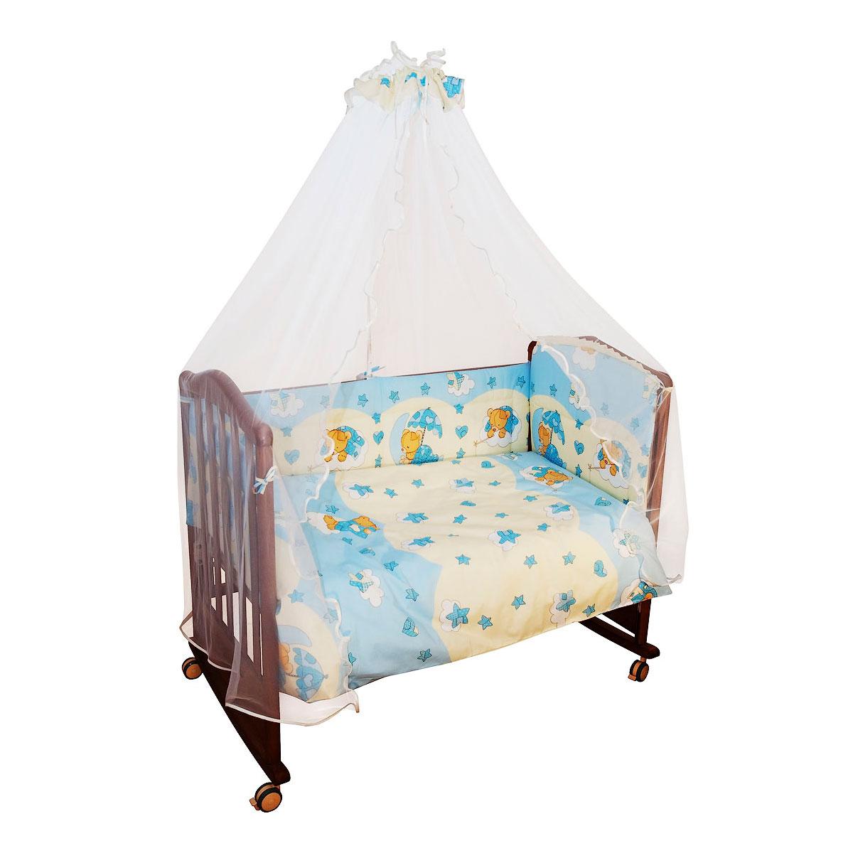 Комплект в кроватку Сонный гномик Мишкин сон 4 предмета Голубой<br>
