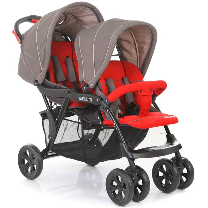 Коляска для двойни Baby Care Tandem Серый/Красный<br>