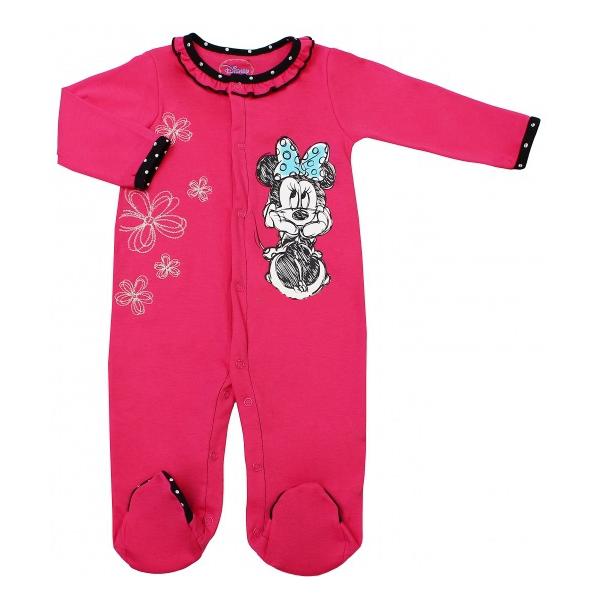 Комбинезон розовый Disney Минни с длинным рукавом 6-12 мес.