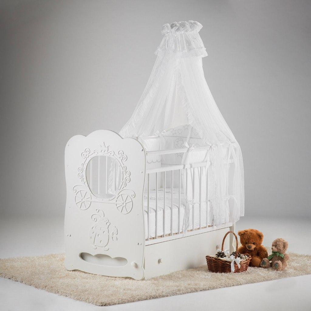 Кроватка Островок Уюта Карета маятник поперечный с ящиком Белая<br>