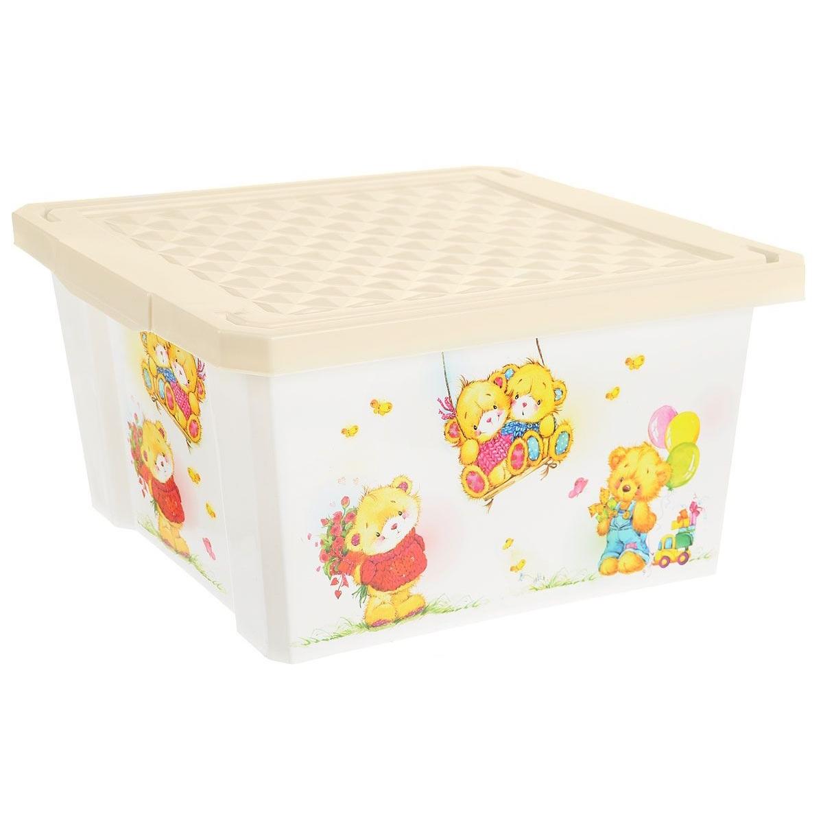 Ящик для хранения игрушек Little Angel X-Box Bears 17л Слоновая кость<br>