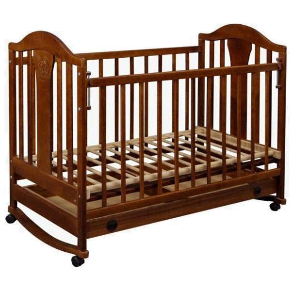 Кроватка  Наполеон NEW колесо качалка Орех<br>