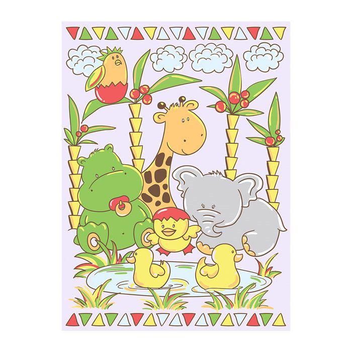 Одеяло Baby Nice байковое 100% хлопок 85х115 У озера (голубой, розовый, желтый)<br>