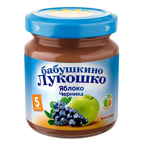 Пюре Бабушкино лукошко фруктовое 100 гр Яблоко с черникой (с 5 мес)<br>