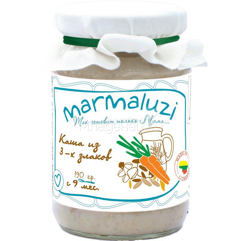 Пюре Marmaluzi злаки 190 гр. Каша из 3-х злаков (с 9 мес)