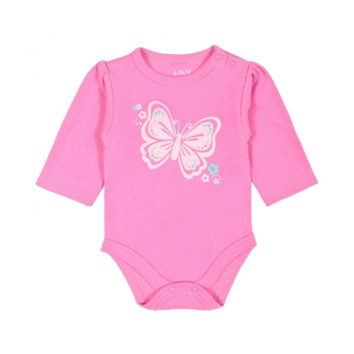 Боди 5.10.15 розовое с бабочкой Размер 80<br>