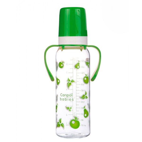 Бутылочка Canpol Babies с силиконовой соской с ручками зеленая (с 12 мес)<br>