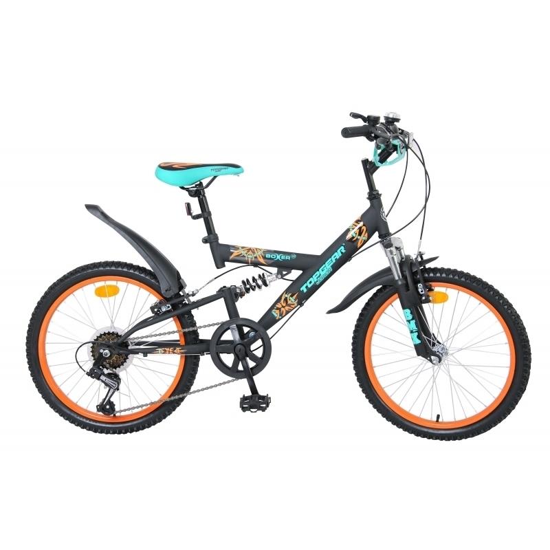 Велосипед TopGear Junior 20 Boxer Shimano Черный с оранжевым с зеленым<br>