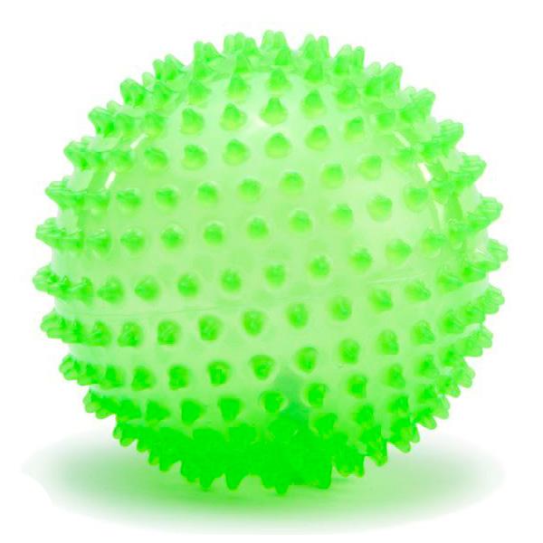 Мяч ежик МалышОК 8,5 см (в пакете) люминесцентный зеленый<br>