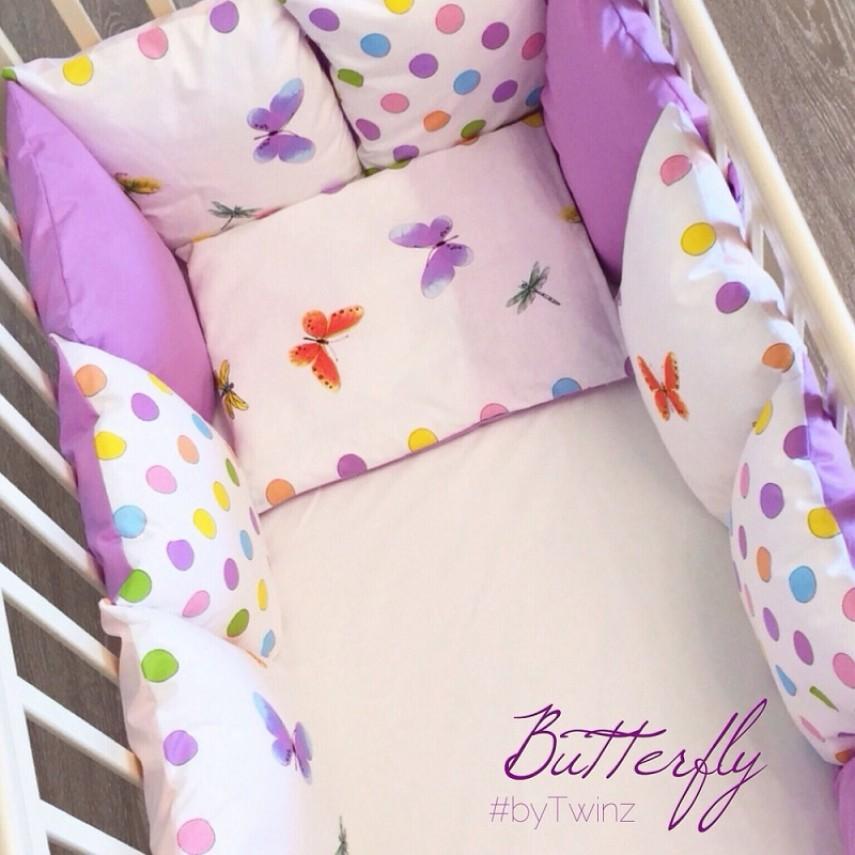Комплект в кроватку ByTwinz с бортиками-подушками 6 предметов Бабочки<br>