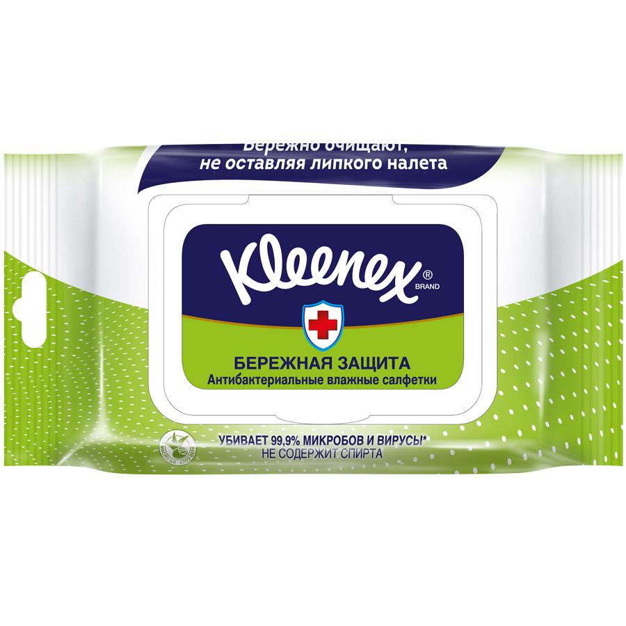 Салфетки влажные Kleenex БЕРЕЖНАЯ ЗАЩИТА антибактериальные 40 шт<br>