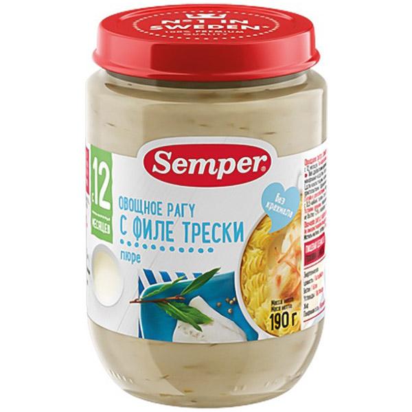 Пюре Semper рыбное с овощами 190 гр Овощное рагу с филе трески (с 12 мес)