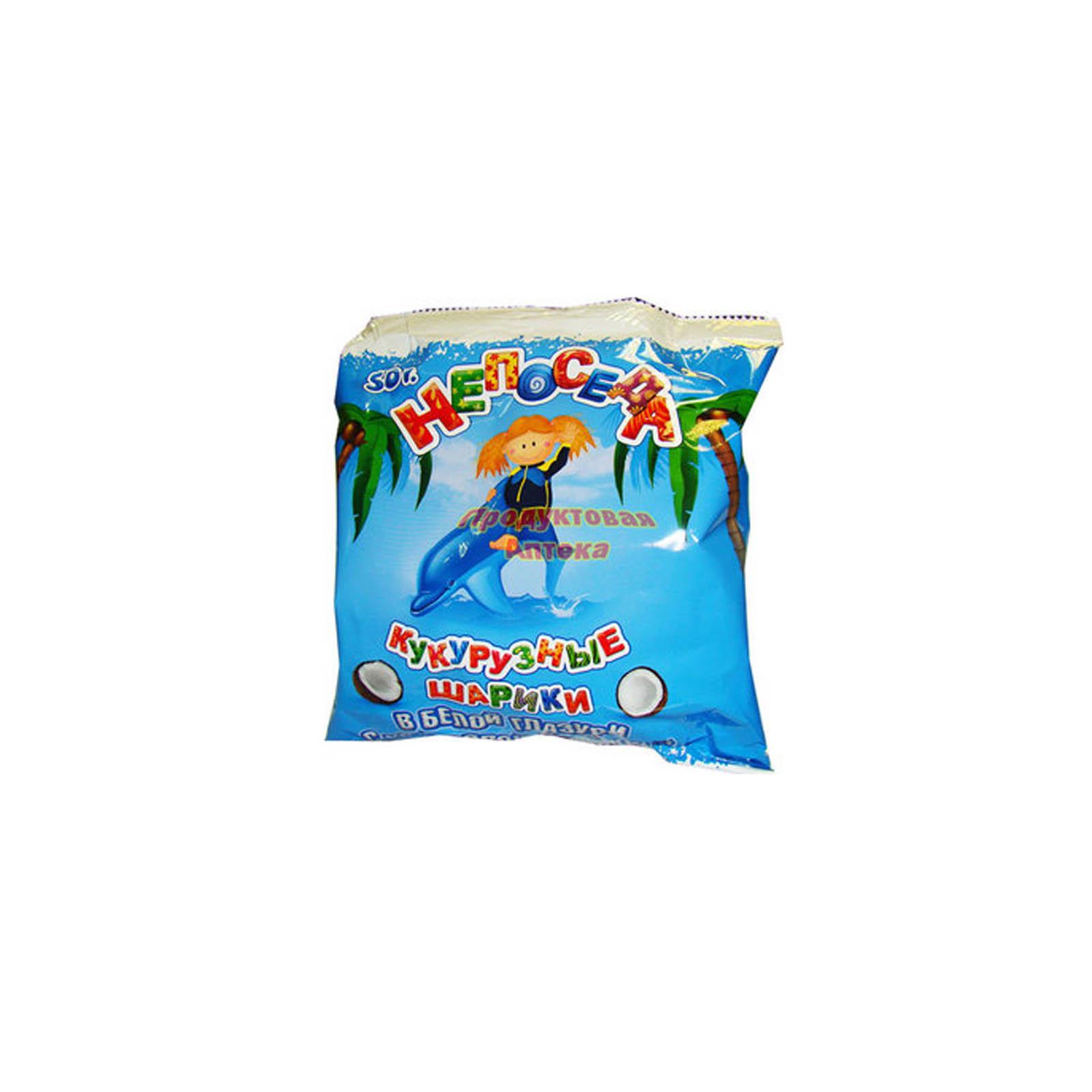 Шарики Здоровей Непоседа 50 гр Кукурузные с кокосовой глазурью<br>