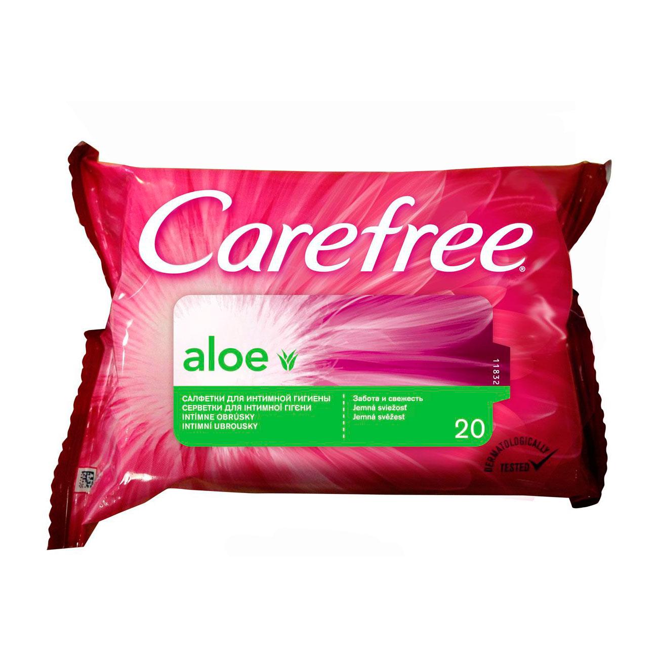 Салфетки влажные Carefree с Алоэ для интимной гигиены 20 шт<br>