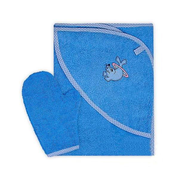 Полотенце-уголок Осьминожка с рукавичкой махровое Голубое<br>