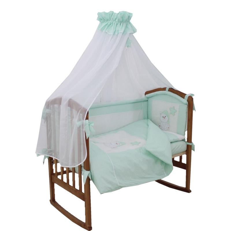 Комплект Папитто Котик 7 предметов борта со съемными чехлами Салатовый