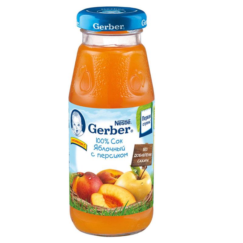 Сок Gerber Гербер 175 мл Яблоко с персиком 1 Ступень (с 5 мес)