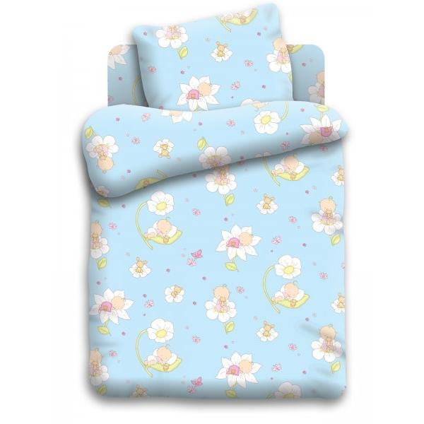 Комплект постельного белья детский бязь Непоседа Кошки-мышки Малыши Голубой<br>