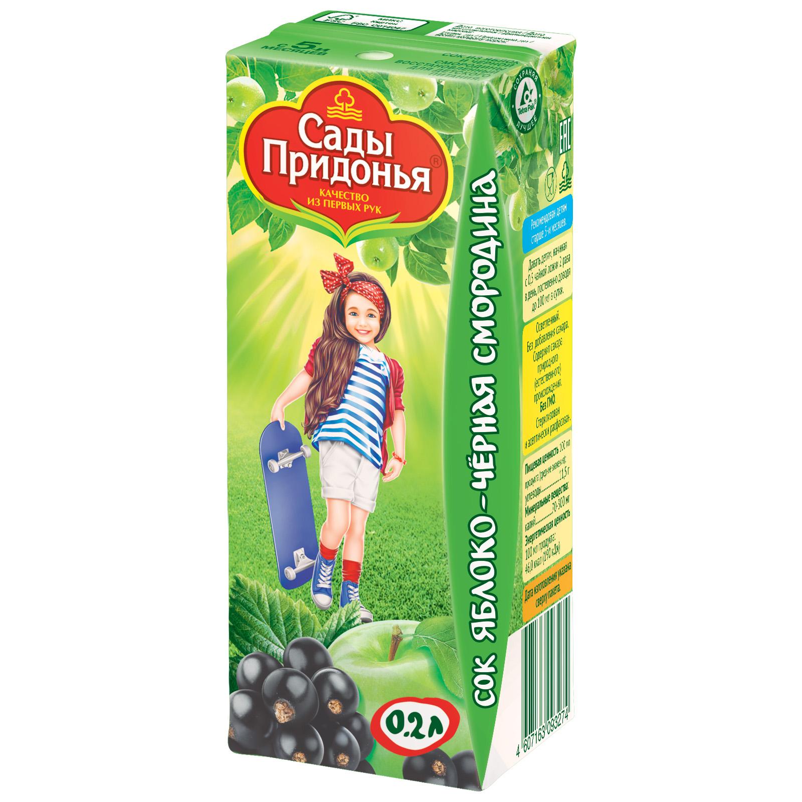 Сок Сады Придонья 200 мл (тетрапак) Яблоко с черной смородиной (с 5 мес)<br>